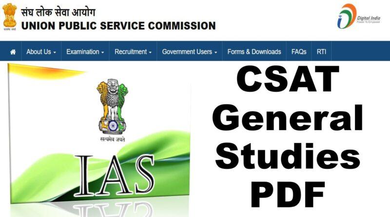 CSAT General Studies IAS Prelims Topic-wise Solved Paper Book PDF Download